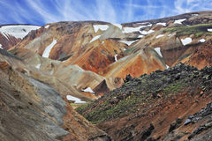 The orange rhyolite mountains with  snow Royalty Free Stock Image