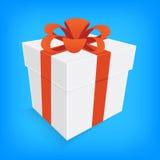 Orange ribbon and white gift box isolated Stock Photo