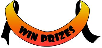 Orange ribbon withWIN PRIZES text. Royalty Free Stock Image