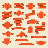 Orange ribbons and label set in flat style Royalty Free Stock Photo