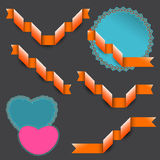 Orange ribbons and three sticker shapes Stock Images