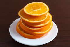 Orange ring on the plate Royalty Free Stock Photo