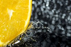 Orange ring with splashes of water. A fruit and vitamin splash with bokeh Royalty Free Stock Images