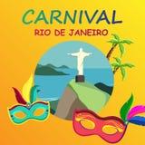 Orange Rio carnival background with festive masks. Orange Rio De Janeiro carnival background with festive masks. Vector illustration Royalty Free Stock Images