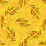 Orange ripe corn cobs, seamless vector pattern. Royalty Free Stock Photo