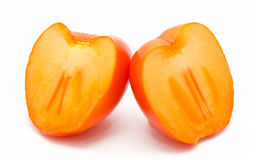 Orange ripe persimmon isolated on white Royalty Free Stock Photo