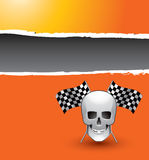 Orange ripped banner with racing flags and skull Stock Image