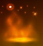 Orange rök på etappen, abstrakt design med en brand Royaltyfri Bild
