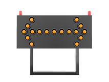 Orange road barrier arrows light isolated Stock Photo