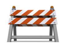 Orange road barrier under consruction. 3d shiny Stock Photo