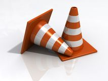 Orange road cones Stock Image