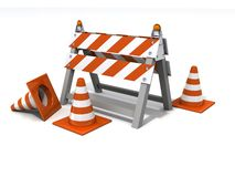Orange Road Cones And Barrier Under Consruction Royalty Free Stock Photography