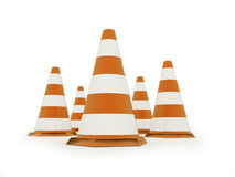Orange road cones rendered isolated on white Royalty Free Stock Image