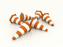 Orange road cones rendered isolated Royalty Free Stock Photos