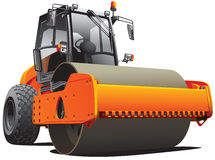 Orange road roller. Detailed vectorial image of orange roller, isolated on white background. File contains gradients. No strokes and blends Stock Photo