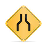 Orange road sign of narrowing of the road on a white background with shadow vector illustration