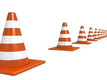 Orange road under construction cones on white Stock Photo