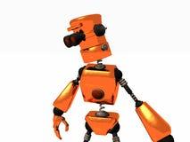 Orange robot. 3d render of a bronze robot Stock Image
