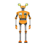 Orange Robot with Big Artificial Eyes Isolated on White Royalty Free Stock Image