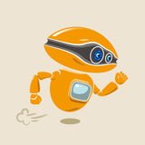 Orange robot flying fast in a hurry. Vector illustration stock illustration