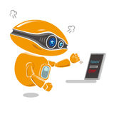 Orange robot get impatient at trouble of error message on the laptop screen Royalty Free Stock Photos