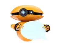 Orange Robot Holding Blank Chat Bubble On White Background Stock Photo