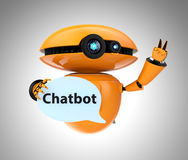 Orange robot holding chat bubble with Chatbot text Stock Image