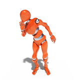 Orange robot. Illustration of a robot speaking a secret, on a white background Stock Photography