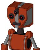 Orange Robot With Mechanical Head And Dark Tooth Mouth And Three-Eyed. Portrait style Orange Robot With Mechanical Head And Dark Tooth Mouth And Three-Eyed royalty free illustration