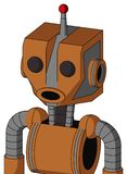 Orange Robot With Mechanical Head And Round Mouth And Two Eyes And Single Led Antenna. Portrait style Orange Robot With Mechanical Head And Round Mouth And Two royalty free illustration