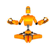Orange robot in meditation pose Royalty Free Stock Photo