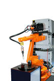 Orange robotic arm Stock Photo