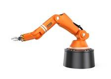 Orange robotic  arm isolated on white background Royalty Free Stock Image