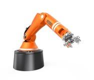 Orange robotic  arm isolated on white background Stock Photos