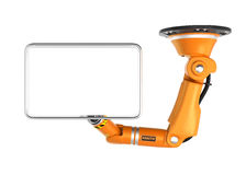 Orange robotic  ceiling arm holding blank monitor for copy space. Orange robotic ceiling  arm holding blank monitor for copy space. 3D rendering image with Royalty Free Stock Images