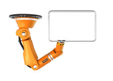 Orange robotic  ceiling arm holding blank monitor for copy space Stock Photography