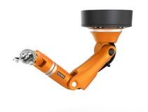 Orange robotic ceiling arm isolated on white background Stock Image