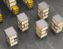 Orange robots carrying pallets with goods in modern warehouse Royalty Free Stock Photography