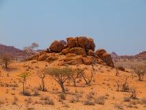 Orange rock formation of Damaraland Stock Photography