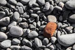 Orange rock on top of gray rocks on the shore. A picture of an orange rock on top of gray rocks on the shore stock photos