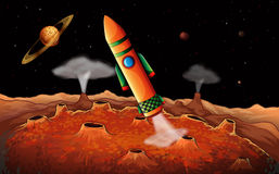 An orange rocket in the outerspace stock illustration