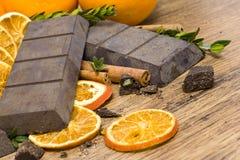 Orange rohe Schokolade stockfoto