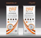 Orange roll up banner template, banner design, stand template Royalty Free Stock Photos