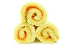Orange Rolls cake isolated Royalty Free Stock Images