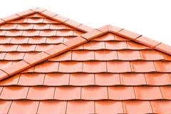 Orange roof tiles. Isolated on white background Royalty Free Stock Photo