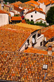Orange Roof Tiles in old town. Red-Orange Roof Tiles in old European Village Stock Photos