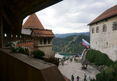 Orange roof top with heritage architecture at Bled castle in Ble Royalty Free Stock Photo