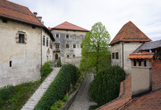 Orange roof top with heritage architecture at Bled castle in Ble Royalty Free Stock Image
