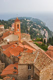 Orange roofs. Medieval small town on coast of Mediterranean sea in Provence royalty free stock images