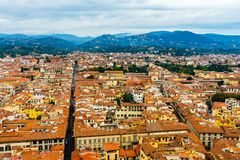 Orange Roofs Many Buildings Green Hills Tuscany Florence Italy Stock Photo